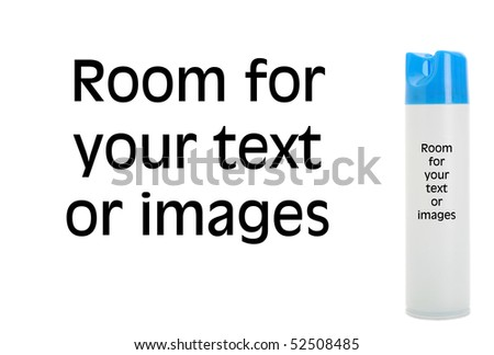 generic can of air freshener isolated on white with room for your text or images - stock photo