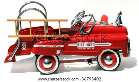 "generic childs metal pedal car firetruck ""isolated on white"" - stock photo"