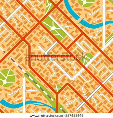 Generic city map background pattern. Illustration in flat style.