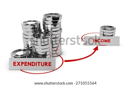 Generic coins over white background, expenditure is higher than income, symbol of commercial bankruptcy or debts.  - stock photo