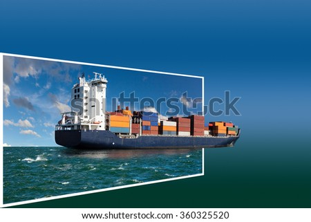 Generic concept container ship for adv or others purpose use. - stock photo