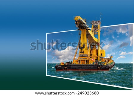 Generic concept huge floating crane for adv or others purpose use. - stock photo