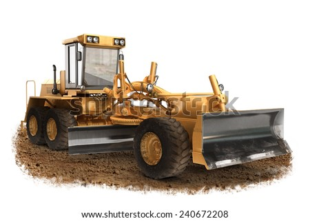 Generic construction road  grader construction machinery equipment positioned on dirt with a white background  - stock photo