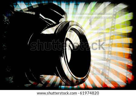 Generic digital camera photography graphic with copy space. - stock photo