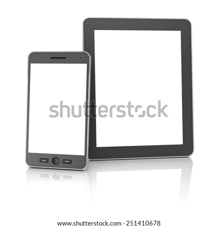 Generic digital tablet and smartphone against white background, 3d render - stock photo