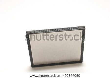 Generic flash card standing on end on white