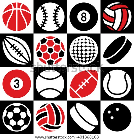 Generic game ball icons on a red, black and white checkered background. Can also be used as a seamless pattern. - stock photo