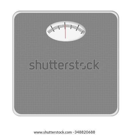 Generic grey bathroom scales, iolated on white. No numbers, weight mentioned.
