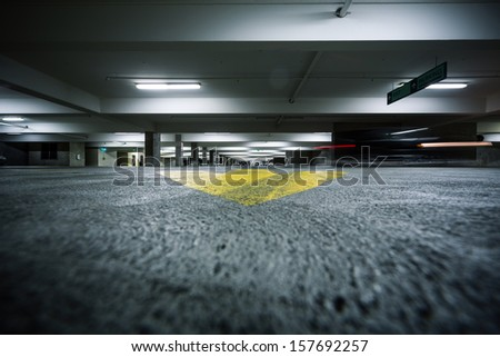 Generic grunge garage parking industrial room interior.