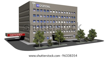 Generic hospital model on a white background - stock photo