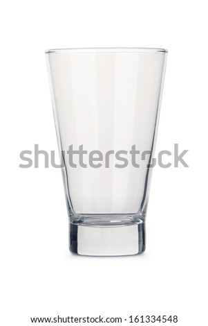 Generic isolated empty clear glass tumbler - portrait interior