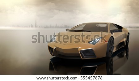 Generic Luxury Sports Car Front Modern Stock Illustration 555457876