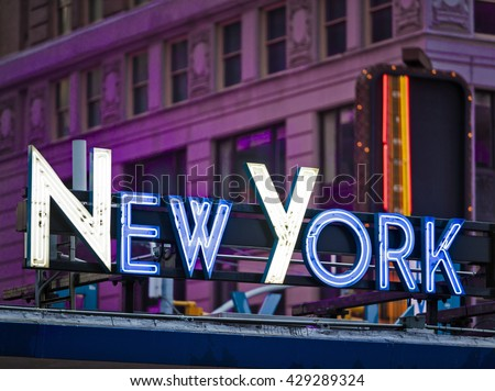 Generic New York signage made from neon tubes - stock photo