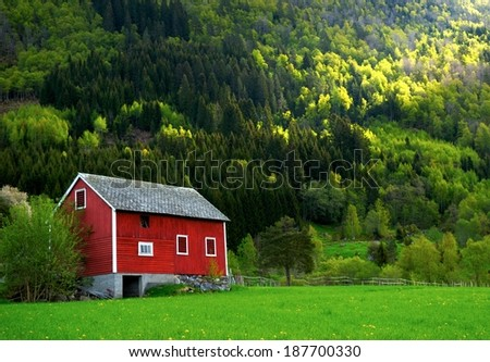 Generic Norwegian Barn in Ulvik, Norway  - stock photo