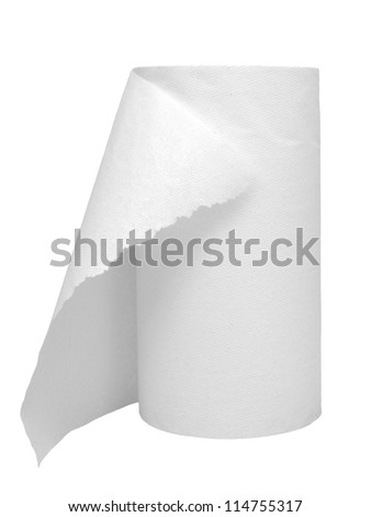 generic paper towel roll on white background