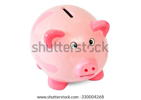 Generic pink piggy bank isolated on white background