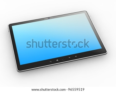 Generic Portable Tablet PC on White Background, 3D Render.