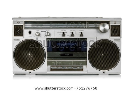 Generic Portable vintage radio cassette recorder, without trandmark, isolated on white background.