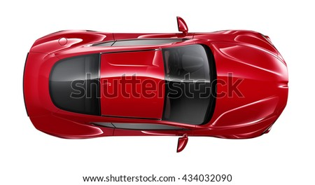 Generic red coupe car - 3D render on white background
