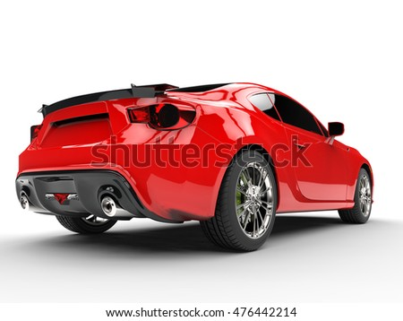 Generic red sports car - rear view - 3D Render
