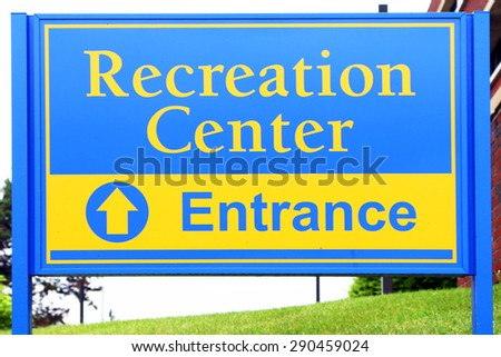 Generic sign for a recreation, fitness center or gym. - stock photo
