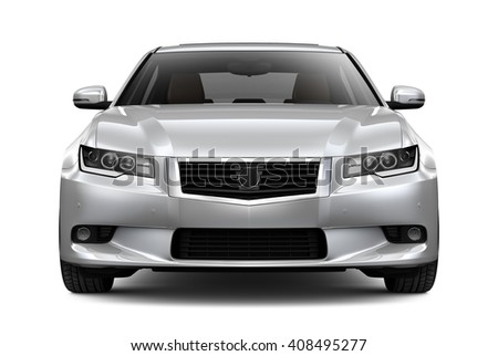 Generic silver car - 3D render on white