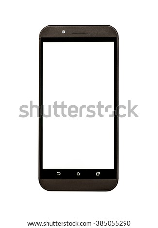 Generic Smart Phone With Blank Screen Isolated - stock photo