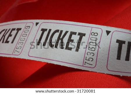 Generic Ticket on a Red Background - stock photo