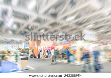 Generic trade show stand with blurred zoom defocusing - Concept of business social gathering for international meeting exchange - stock photo