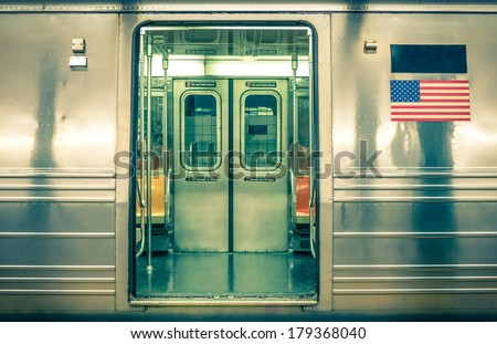 Generic underground train - New York City - stock photo