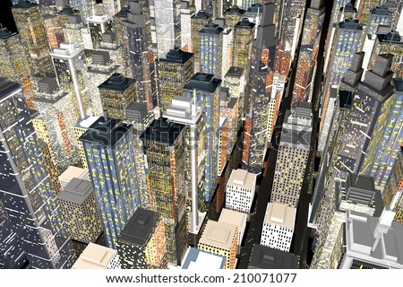 Generic urban architecture and skyscrapers forming a huge city at night. 3D rendered Illustration.