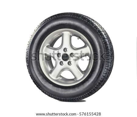 Generic Wheel with metal rim. Great tire image used in all automobiles