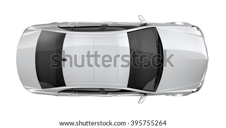Generic white car - top view
