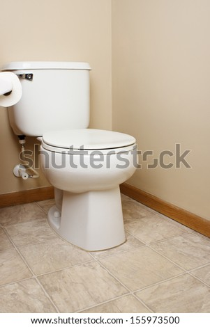 Generic white toilet in tan walled bathroom