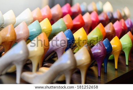 Generic womens shoes in rows - stock photo
