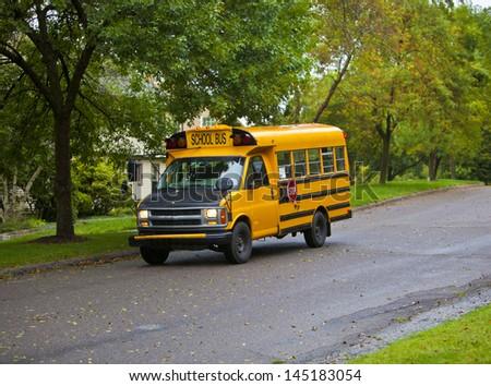 Generic yellow school as found across America - stock photo