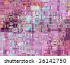 Genetic Art Psychedelic Glass Blocks Magenta Light Blue - stock photo