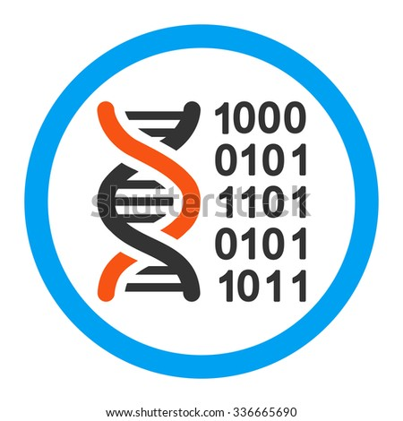 Genetic Code glyph icon. Style is flat rounded symbol, bright colors, rounded angles, white background.
