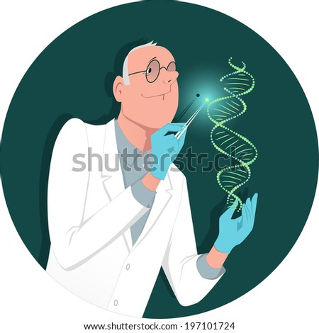 Genetic engineering. Man in a white lab coat manipulating a DNA molecule - stock photo