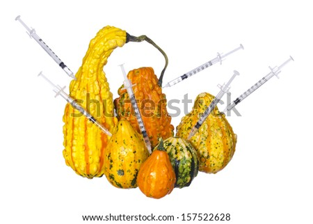 Genetic injections into pumpkins isolated on white background. Genetically modified or unusually shaped squashes with syringes.  - stock photo