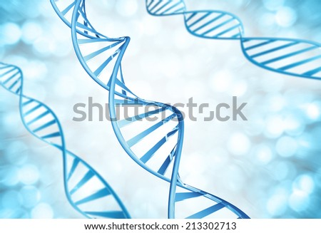 Genetic strands of DNA molecules magnified