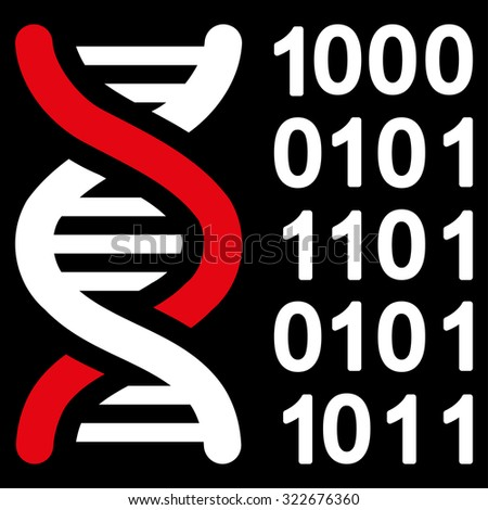 Genetical Code glyph icon. Style is bicolor flat symbol, red and white colors, rounded angles, black background. - stock photo