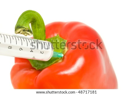 Genetically modified products - pepper and syringe on white