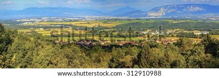 Geneva canton panoramic view with Saleva mountain by day, Switzerland - stock photo