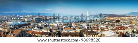 Geneva City and Lake Leman in A Panoramic View - stock photo