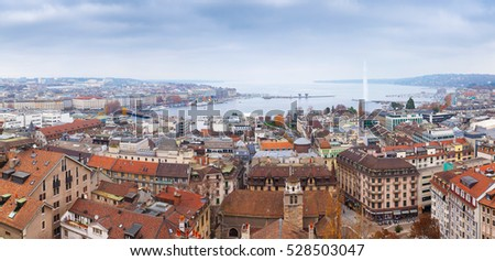 Geneva city, Switzerland. Panoramic cityscape of old central area and Geneva Lake, photo taken from St. Pierre Cathedral viewpoint