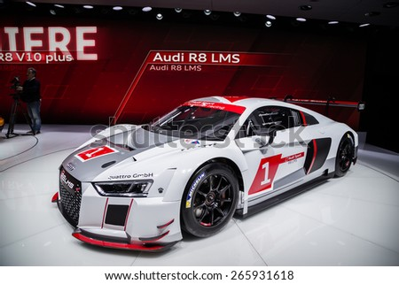 GENEVA, MAR 3: Audi R8 LMS car, presented at the 85th International Motor Show in Geneva, Switzerland on March 3, 2015. - stock photo