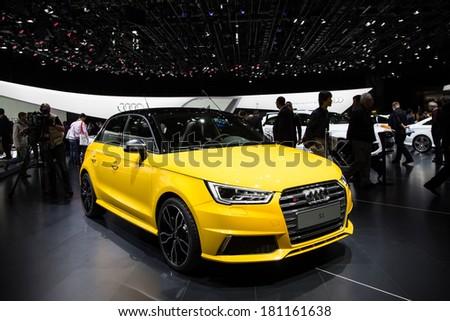 GENEVA, MAR 4: Audi S1, presented at the 84th International Motor Show in Geneva, Switzerland on March 4, 2014. - stock photo