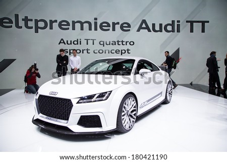 GENEVA, MAR 4: Audi TT, presented at the 84th International Motor Show in Geneva, Switzerland on March 4, 2014. - stock photo