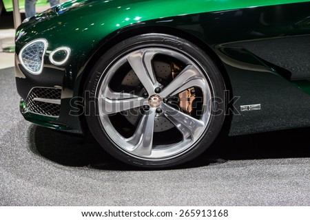 GENEVA, MAR 3: Bentley Exp 10 Speed 6 Concept car wheel details, presented at the 85th International Motor Show in Geneva, Switzerland on March 3, 2015. - stock photo